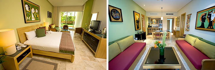 The Grand Mayan two bedroom sleeps up to six adults. Living room and kitchen are situated between the bedrooms.