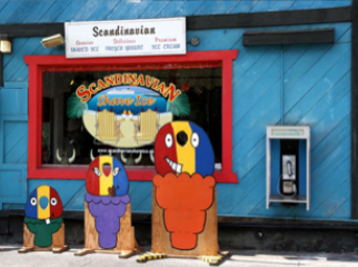 A family of shave ice before they are eaten.